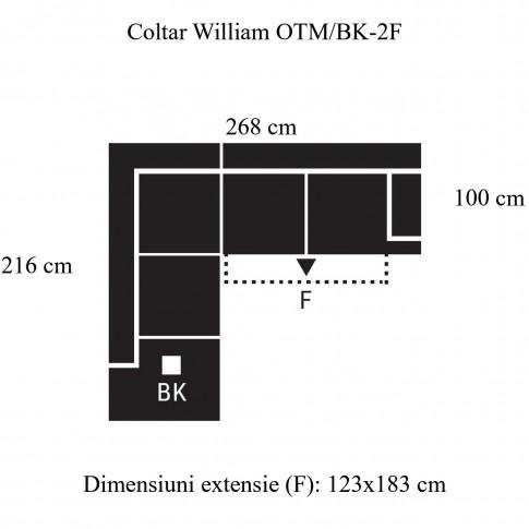 Coltar living extensibil pe dreapta William OTM/BK-2F, cu lada, maro, 268 x 216 x 87 cm, 2C