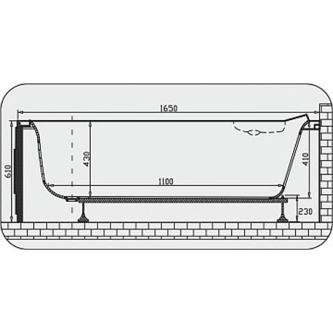 Cada baie asimetrica, pe colt, varianta montaj pe stanga, Martplast Corsica, masca si suport incluse, acril, 165 x 96 cm
