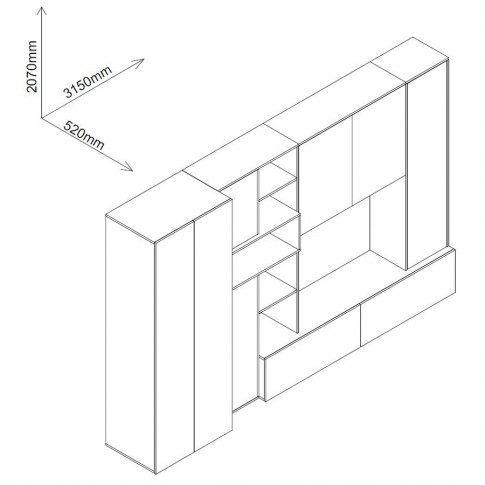 Biblioteca living Zenit, sherwood + crem lucios + maro, 315 cm, 5C