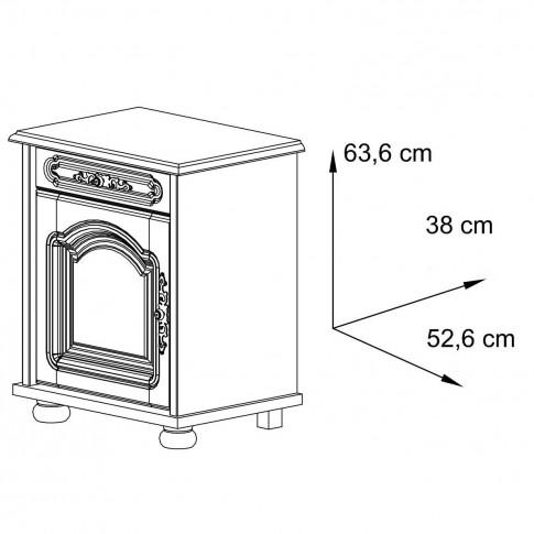 Noptiera Berry 3613CYEG pe stanga, cu 2 rafturi + 1 sertar, nuc, 52.5 x 63.5 x 38 cm, 1C