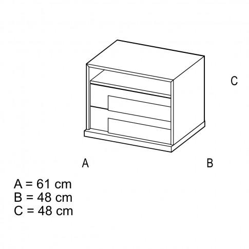 Noptiera Opera P2, cu 2 sertare + 1 raft, ulm deschis + saten lucios, 61 x 48 x 48 cm, 2C