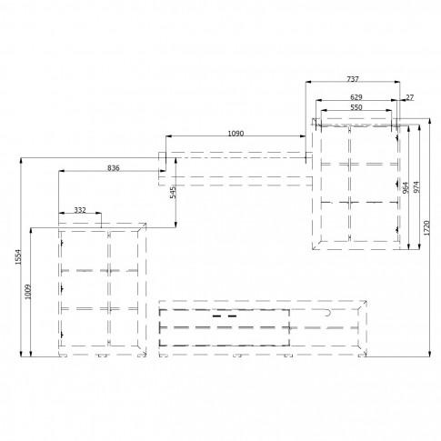 Biblioteca living Rosso, stejar gri + alb lucios, 266.5 cm, 3C