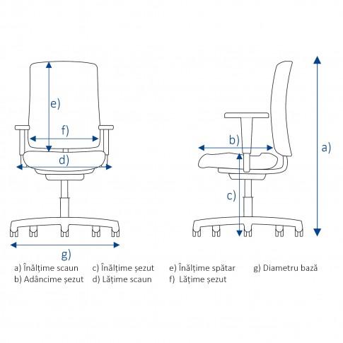 Scaun birou ergonomic Nuvola, rotativ, stofa C11, negru