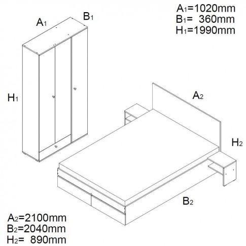 Dormitor complet Vlad, stejar A458 + maro, 4 piese, 5C