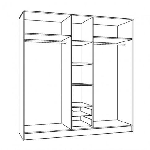 Dulap dormitor Hana 5K2F1O, alb, 5 usi, cu oglinda, 200 x 52 x 205 cm, 5C