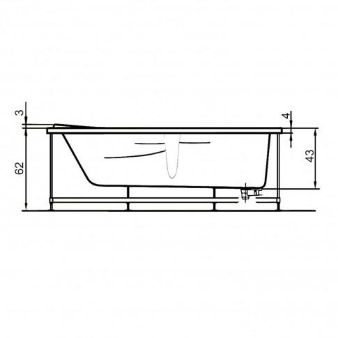 Cada baie asimetrica, pe colt, varianta montaj pe dreapta, West Iulia, masca si suport incluse, acril + fibra de sticla, 150 x 100 cm