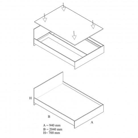 Pat dormitor 900, o persoana, magia, 90 x 200 cm, 3C