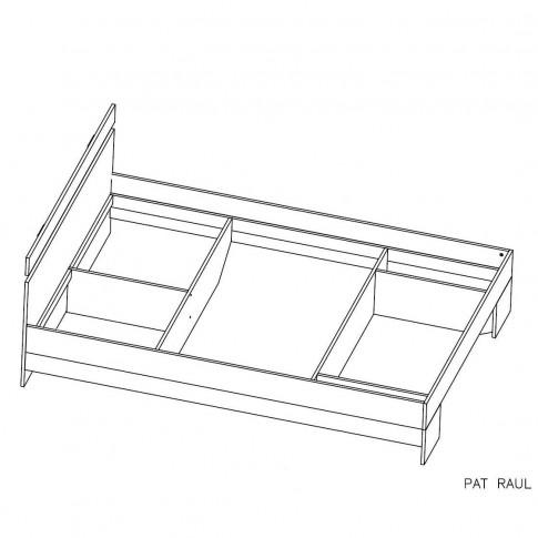 Pat dormitor Raul, matrimonial, cu sertar, magia + alb, 140 x 200 cm, 3C