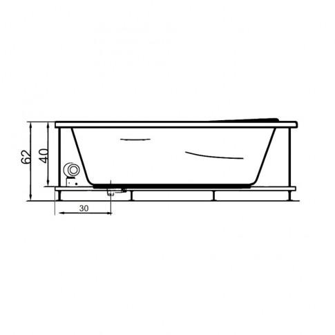 Cada baie asimetrica, pe colt, varianta montaj pe stanga, West Saturn, masca si suport incluse, acril + fibra de sticla, 150 x 100 cm