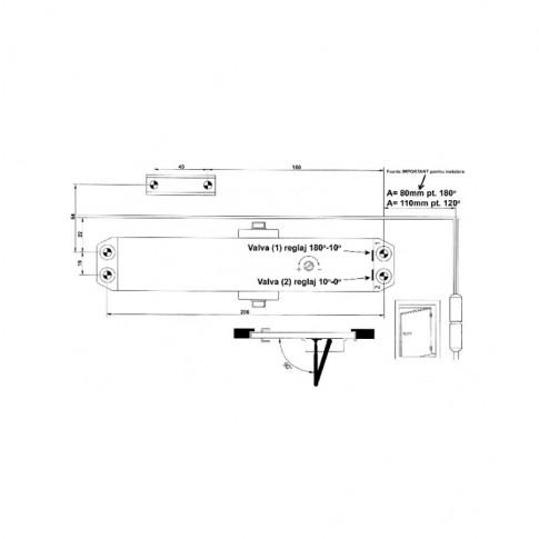 Amortizor usa, hidraulic, Omega TS 604, argintiu, 60-85 kg