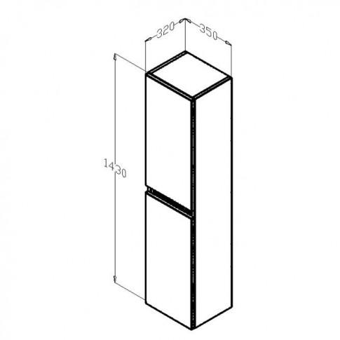 Dulap baie suspendat, Frame, 2 usi, rigoletto argintiu, 35 x 143 x 32 cm