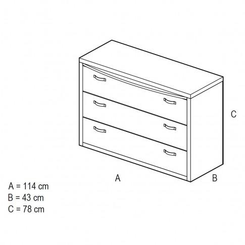 Comoda dormitor Allegro, cu 3 sertare, ulm deschis + saten lucios, 114 x 43 x 78 cm, 5C