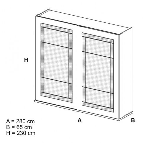 Dulap dormitor Opera L278/H230, alb craft, 2 usi glisante, cu oglinda, 280 x 65 x 230 cm, 10C