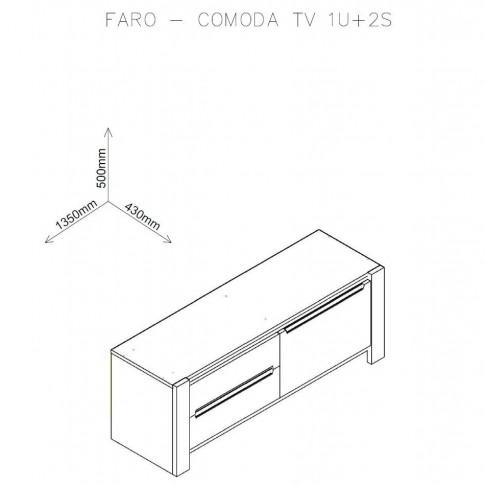 Comoda TV cu sertare Faro, stejar A458 + mocca, 135 x 43 x 50 cm, 3C