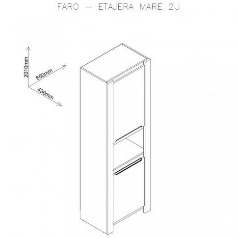 Etajera living Faro, stejar A458 + mocca, 65 x 43 x 201 cm, 3C