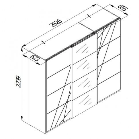 Dulap dormitor Ksanti 270 U, alb mat + folie lucioasa alba, 3 usi glisante, cu oglinda, 262.5 x 65.5 x 224 cm, 10C