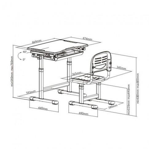 Birou si scaun pentru copii C5, ajustabile, gri, 66 x 76 x 47 cm, 1C