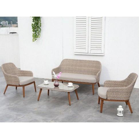 Set masa dreptunghiulara, cu 2 scaune + 1 canapea cu perne, pentru gradina 211M Maldive, din metal cu ratan sintetic