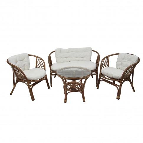 Set masa cu 2 scaune + 1 canapea cu perne pentru gradina Bahama SC 1900 din ratan natural