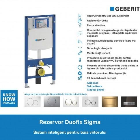 Rezervor WC, incastrat, Geberit Duofix Sigma 111300005, 6 - 7. 5 L, 50 x 112 cm