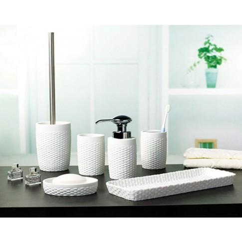 Perie WC  Silk 820071W-5, polystone, alb, 10 x 37 cm