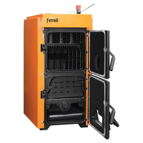 Cazan termic pe lemne, carbune Ferroli SLK Pro 8, cu ardere normala, din fonta, 44/51 kW, 8 elementi