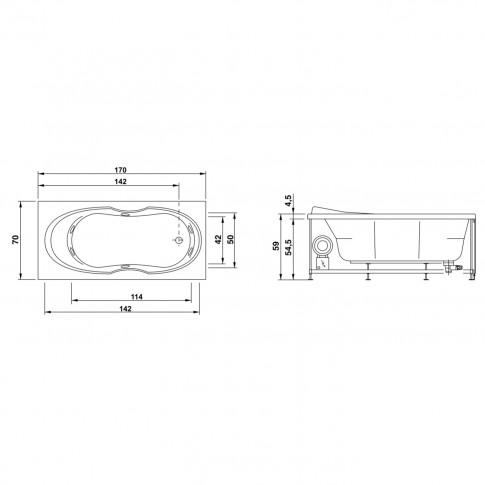 Cada baie cu hidromasaj rectangulara, West Sonia, acril, 150 x 70 cm