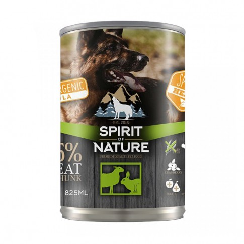 Hrana umeda pentru caini, Spirit of nature, adult, carne de miel si iepure, 800g
