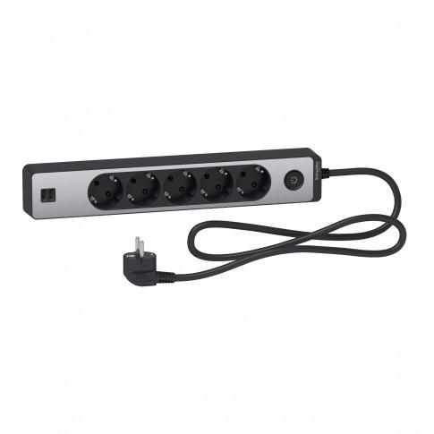 Prelungitor Schneider Electric ST945U1BA, 5 prize cu contact de protectie si 2 prize USB 5V 2.4A, 1.5 m, 3680W, intrerupator, indicator luminos
