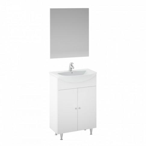 Masca baie + lavoar + oglinda Martplast Start 550, cu usi, alb, 55 x 78 x 42.5 cm