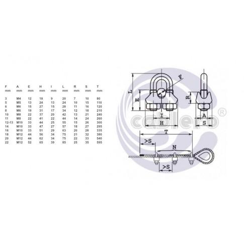 Brida zincata pentru legare cablu otel de 5 mm, Cablero CD011A05U, set 3 bucati