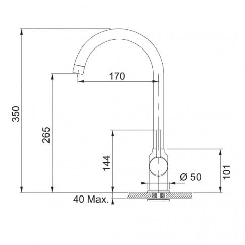 Baterie bucatarie, Franke Pola 115.0298.095, stativa, monocomanda, compozit avena