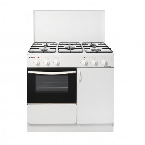 Aragaz pe gaz Tehnoton Flame 5D, 5 arzatoare, latime 82 cm, dispozitiv siguranta cuptor, alb