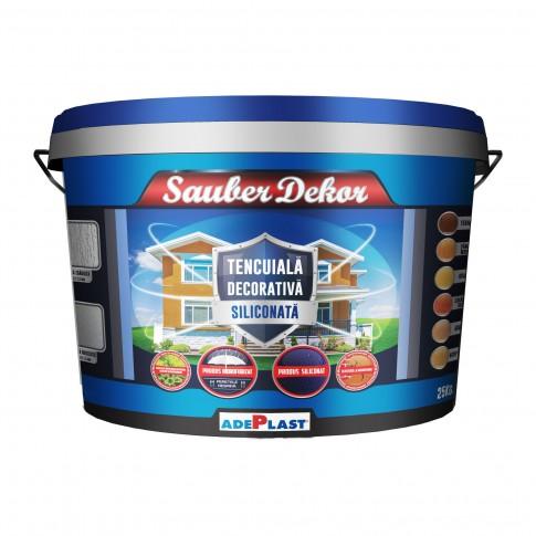 Tencuiala decorativa siliconata Sauber Dekor, 2 mm, structurata, aspect texturat, pamant, interior / exterior, 25 kg