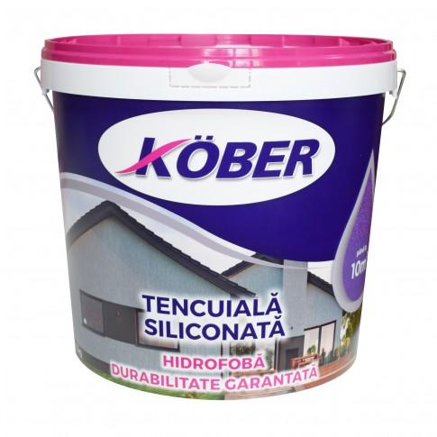 Tencuiala decorativa siliconata Kober Profesional, 1.5 mm, structurata, aspect scoarta de copac, cafea crema, interior / exterior, 25 kg