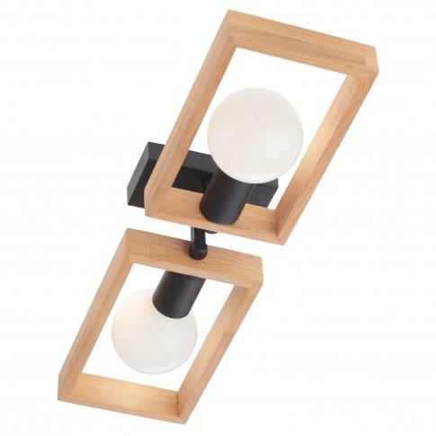 Plafoniera Timber 01-1968, 2 x E27, negru mat + lemn de fag natur