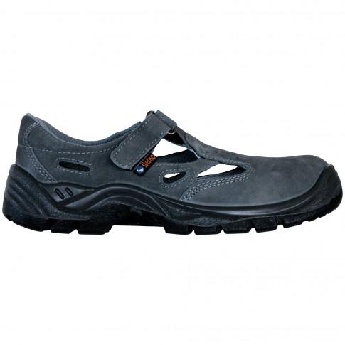 Sandale de protectie cu bombeu metalic Stenso Touareg S1, piele velur, gri, marimea 38