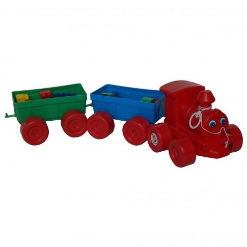 Jucarie de tras, pentru copii, tren cu cuburi constructie, din plastic, 60 x 10 x 10  cm