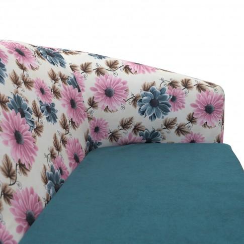 Fotoliu fix 2 locuri Tudor, stofa, turcoaz + model floral, 1C