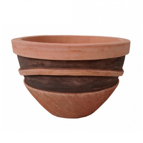 Ghiveci ceramic UD13902545/3, maro, rotund, 38 x 26 cm