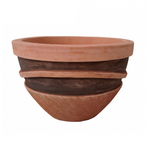 Ghiveci ceramic UD13902545/3, maro, rotund, 29 x 21 cm