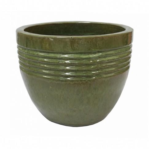 Ghiveci ceramic smaltuit, verde, rotund, 37 x 29 cm