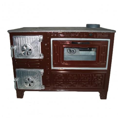 Soba email, pe lemne, Hosseven Eco, cu plita si cuptor, 5 kW, 800 x 655 x 450 mm