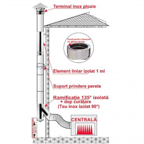 Cos de fum din inox izolat, sistem complet, cu ramificatie 135 grade, D 200/250 mm, H 6 ml