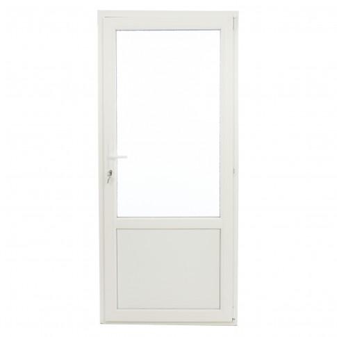 Usa exterior din PVC cu geam termopan 2/3, Far Est Weiss tip 2, 3 camere, prag PVC, dreapta, alb, 87 x 197 cm