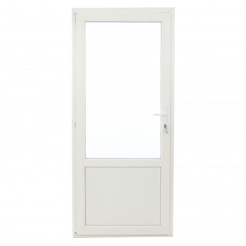 Usa exterior din PVC cu geam termopan 2/3, Far Est Weiss tip 2, 3 camere, prag PVC, stanga, alb, 87 x 197 cm