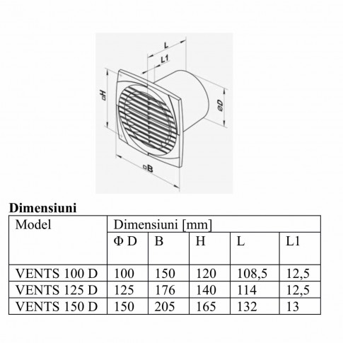 Ventilator axial cu timer Vents 125 DT, D 125 mm, 16 W, 2400 RPM, 180 mc/h