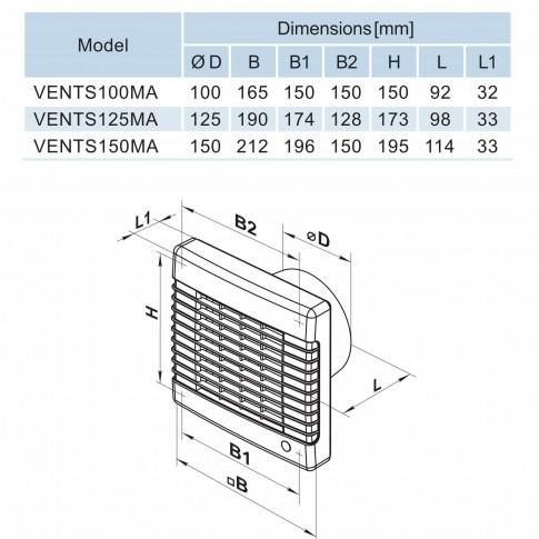 Ventilator axial automat cu timer Vents 125 MAT, D 125 mm, 22 W, 2400 RPM, 185 mc/h