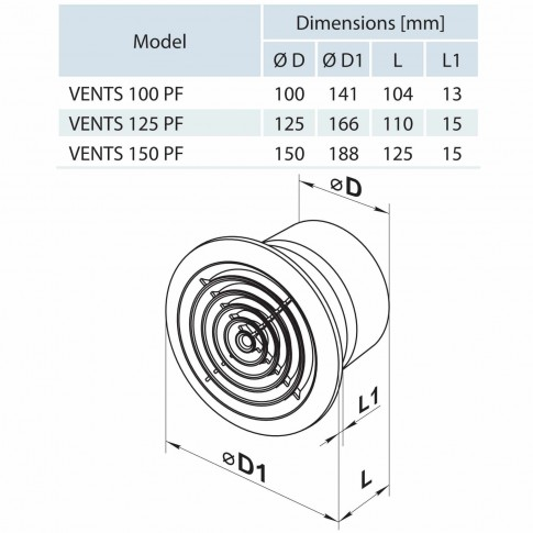 Ventilator axial tavan Vents 125 PF, D 125 mm, 16 W, 2400 RPM, 185 mc/h