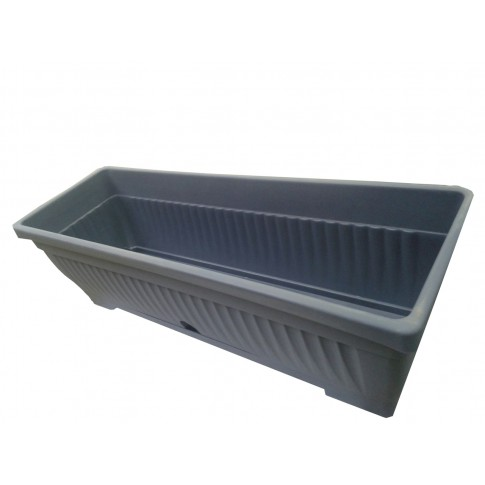 Jardiniera plastic Verbena, cu suport, interior/exterior, gri, 60 x 15.5 cm